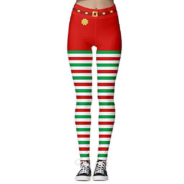 dames rode en witte strepen print schattige kerstbroek kerstman kostuum