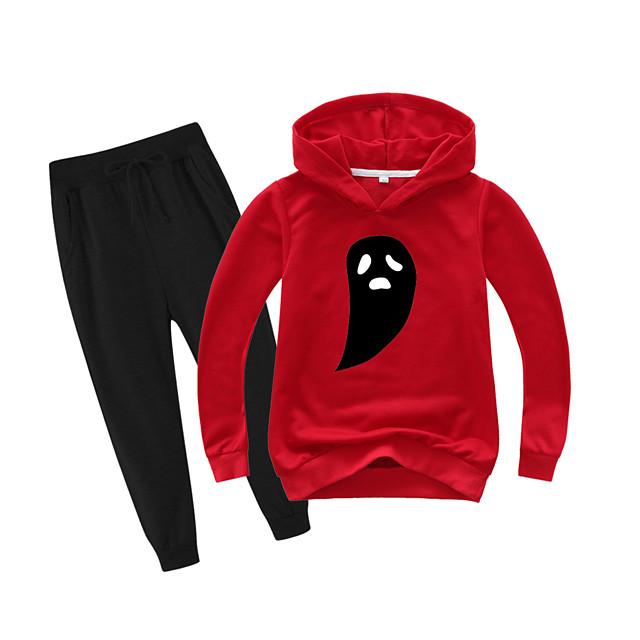Kinderen Jongens Actief Basic Alledaagse kleding Sportkleding Print Patchwork Opdruk Lange mouw Normaal Normaal Kledingset Rood