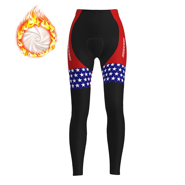 21Grams Mulheres Calças Elásticas para Ciclismo Calças Para Ciclismo Inverno Tosão Poliéster Moto Meia-calça Shorts Acolchoados Calças Forro de Velocino Respirável Tapete 3D Esportes Natal Bandeiras