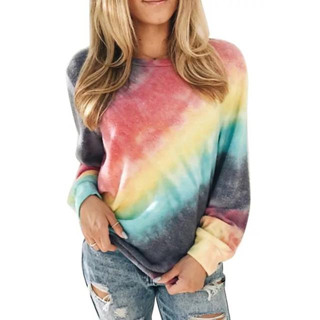 Dames Pullover Sweatshirt Tie Dye Dagelijks Uitgaan Andere prints leuke Style Feest Hoodies Sweatshirts Ruimvallend blauw Paars Rood
