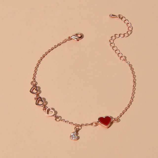 Dames Armbanden met ketting en sluiting Hart Sweetheart Zoet Strass Armband sieraden Rose Goud Voor Afspraakje Verjaardag