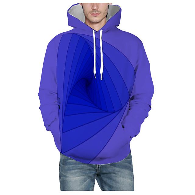 Voor heren Dagelijks Sweatshirt met capuchon Print 3D Grafisch Capuchon Basic Hoodies Sweatshirts Lange mouw blauw