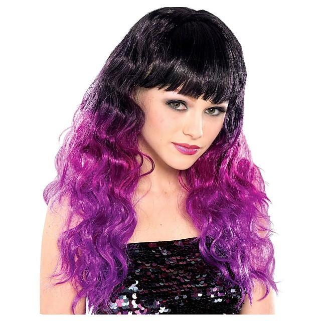 Kostuum pruiken Black & Purple Ombre Gekruld Met pony Pruik Gemiddelde Lengte Zwart Synthetisch haar Dames Anime Cosplay Ombre-haar Zwart Paars