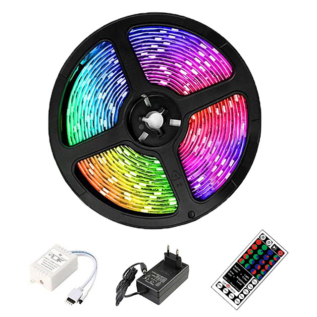 Conjuntos de luces de tira de luces flexibles de 5 m luces rgb tiktok luces 2835 smd 8 mm rgb control remoto rc cortable regulable 100-240 v enlazable autoadhesivo cambio de color ip44