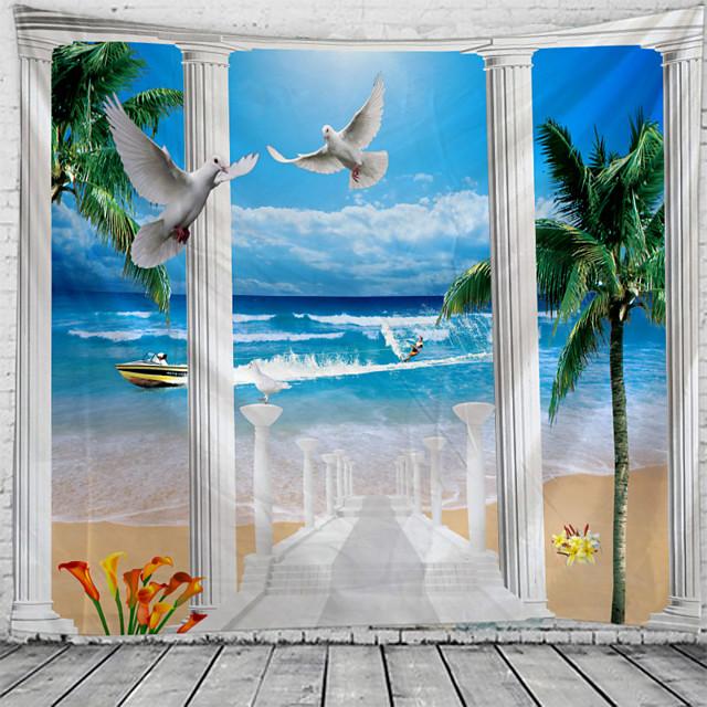 venster landschap wandtapijten art decor deken gordijn picknick tafelkleed opknoping thuis slaapkamer woonkamer slaapzaal decoratie polyester zee oceaan strand palm pier dier