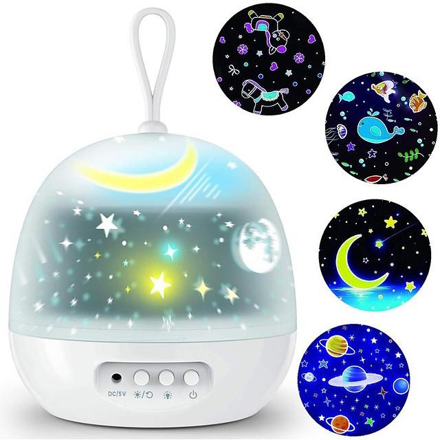 veilleuse projecteur délicatesse 4 films ensembles 360 rotatif 8 modes d'éclairage LED veilleuses lampe pour enfants décoration de chambre de bébé