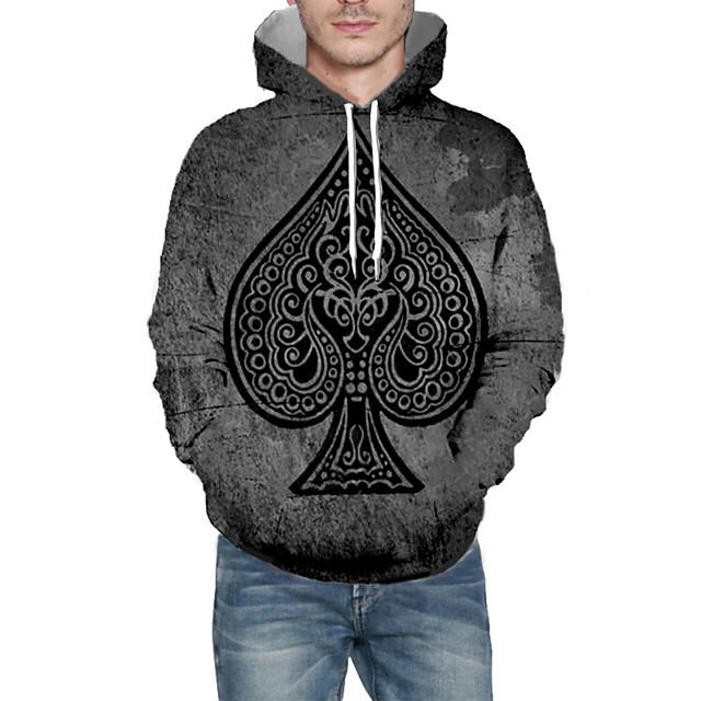 Voor heren Dagelijks Sweatshirt met capuchon 3D Grafisch Capuchon Basic Hoodies Sweatshirts Lange mouw Grijs
