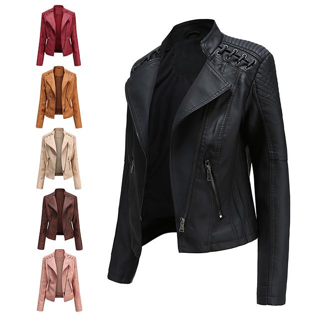 Per donna Giacche di pelle Tinta unita Essenziale Autunno inverno Standard Quotidiano Manica lunga Cuoio sintetico Cappotto Top Rosa chiaro