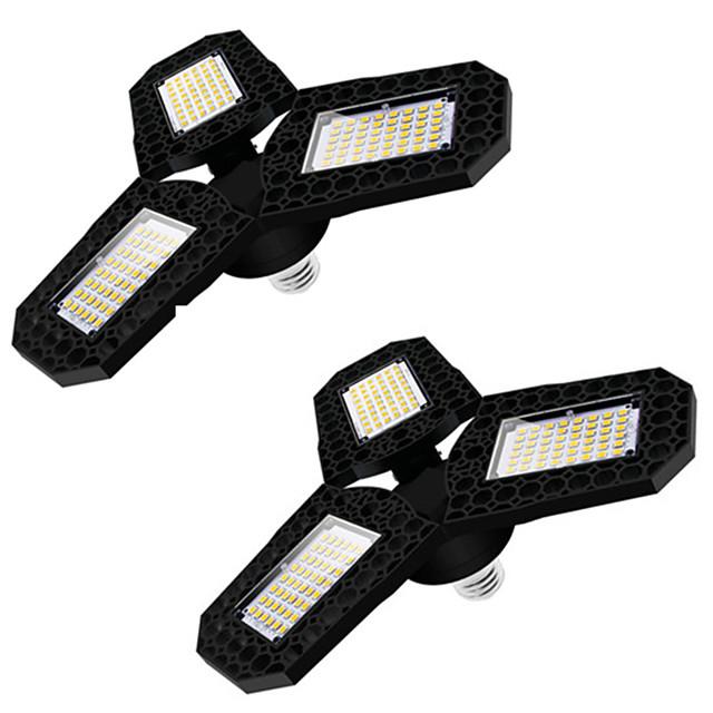 2pcs LED lumière de garage LED plafonnier déformable à trois feuilles pour atelier d'entrepôt à domicile 360 degrés lampe de déformation pliante panneaux multi-positions réglables AC85-265V