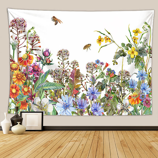 Wall Tapestry Art Deco Blanket Curtain Picnic Table Cloth Hanging Home Bedroom Living Room Dormitory Decoration Polyester Fiber Plant Series Modern Flower Color