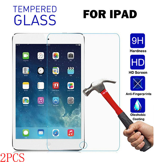 téléphone Protection Ecran Pour Apple Verre Trempé iPad Air iPad 4/3/2 iPad Mini 3/2/1 iPad Mini 4 iPad (2018) 2 pcs Haute Définition (HD) Anti-Rayures Anti-Traces de Doigts Protections d'écran pour