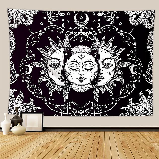 tarot divination tapisserie murale art décor couverture rideau pique-nique nappe suspendu maison chambre salon dortoir décoration mystérieuse lune bohème soleil étoile noir blanc