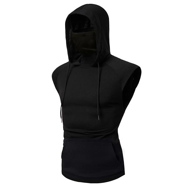 Homme Sans Manches Sweat à capuche avec masque Sweat-shirt à capuche Sweat à capuche Pullover Hauts / Top Plein Air Athlétique Coton Respirable Doux Fitness Exercice Physique Course Running Exercice