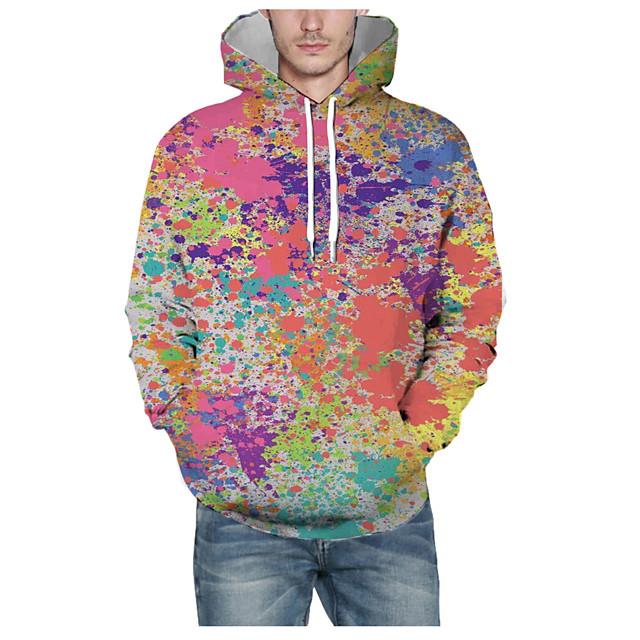 Voor heren Sweatshirt met capuchon Grafisch 3D Capuchon Dagelijks 3D-afdrukken Basic Hoodies Sweatshirts Lange mouw Regenboog