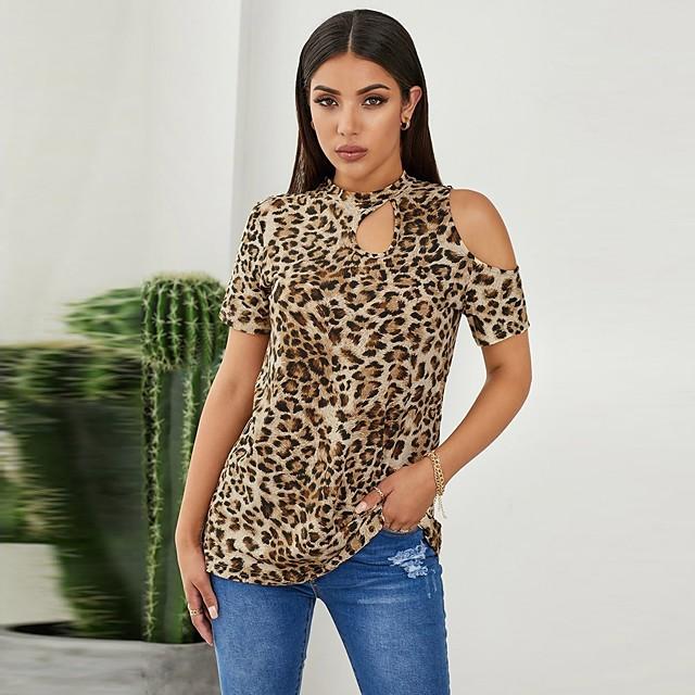 Dames T-shirt Luipaard Jachtluipaardprint Lange mouw Cut Out Patchwork Opdruk Ronde hals Tops Basic Basis Top Bruin
