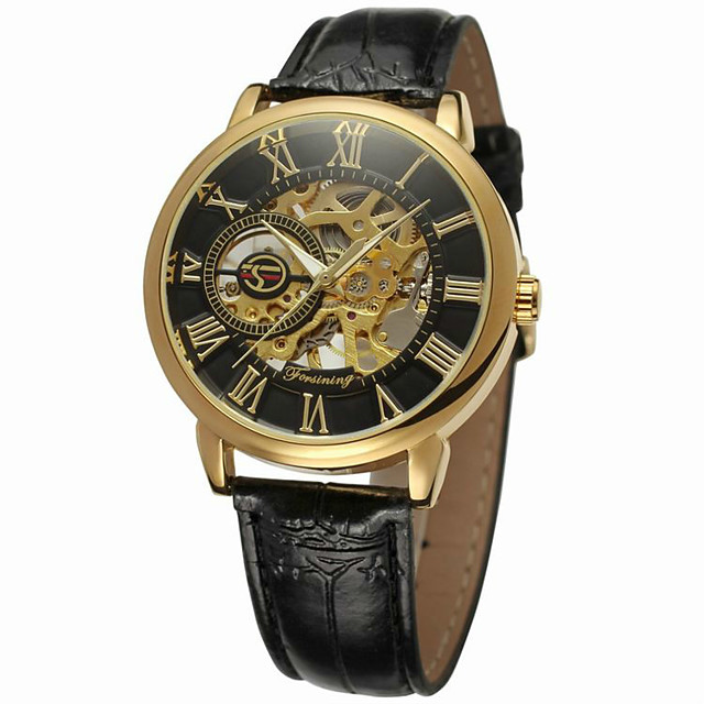 FORSINING Men's Skeleton Watch Wrist Watch Automatic self-winding Luxury Hollow Engraving Analog Black / Gold Gold / White Rose Gold / White / Stainless Steel / Leather