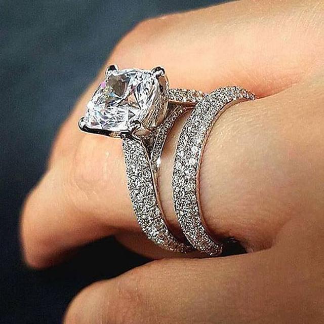 Inel Zirconiu Cubic Clasic Argintiu Alamă Binecuvântat Clasic 1set 6 7 8 9 10 / Pentru cupluri