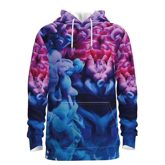 Voor heren Dagelijks Sweatshirt met capuchon 3D Grafisch Capuchon Basic Hoodies Sweatshirts Lange mouw blauw