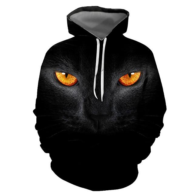 Voor heren Trui met capuchon Grafisch dier Dagelijks Uitgaan 3D-afdrukken Basic Informeel Hoodies Sweatshirts Zwart