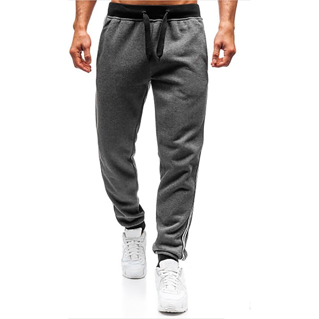 Men's Slim Sweatpants Pants Solid Colored Full Length Black Red Dark Gray