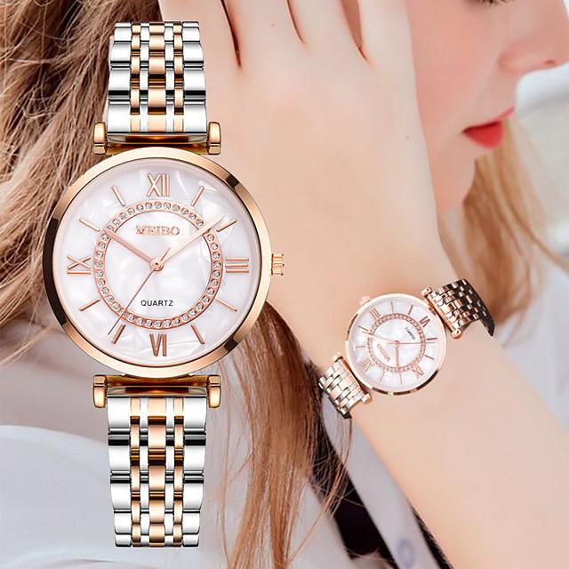 Dames Quartz Horloge Kwarts Stijlvol Luxe Vrijetijdshorloge Analoog Goud Zilver