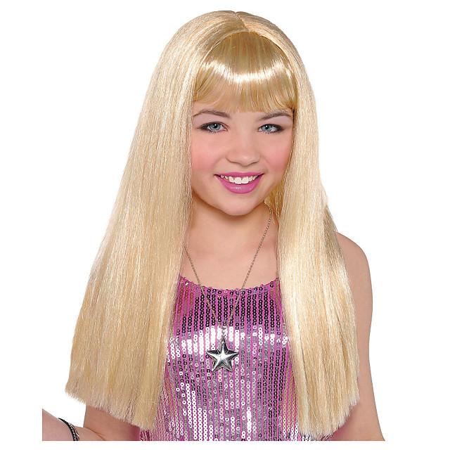 Kostuum pruiken Child Long Blonde Recht Met pony Pruik Gemiddelde Lengte Blond Synthetisch haar Dames Anime Cosplay voortreffelijk Blond
