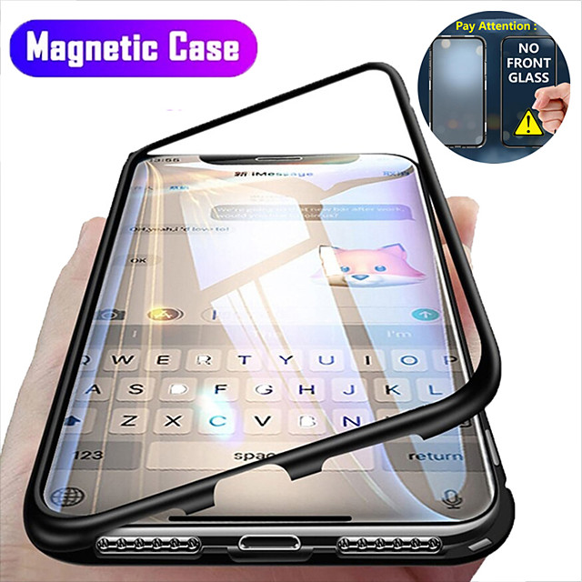 Magnetic Case For Apple iPhone 12 / iPhone 12 Mini / iPhone 12 Pro Max Clear 360 Protection Shockproof / Flip / Protective Case Transparent Full Body Double Sided Glass Hard Tempered Glass