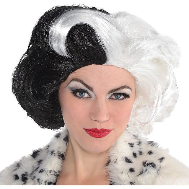 Kostuum pruiken Mal Mal Losse krul Pixie-kapsel Pruik Gemiddelde Lengte Zwart / Wit Synthetisch haar Dames Modieus Design Cosplay voortreffelijk Zwart Wit