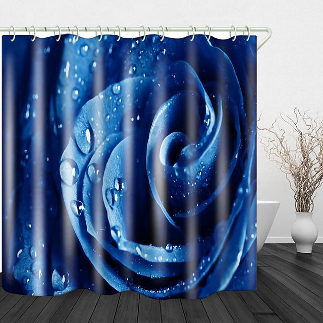 blauwe roos met waterdruppels mooie rug print waterdichte stof douchegordijn voor badkamer interieur bedekt badkuip gordijnen voering omvat met haken