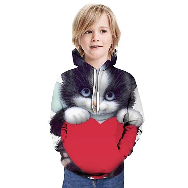 Kinderen Jongens Hoodie & Sweatshirt Kat Grafisch dier Lange mouw Tops Basic Regenboog