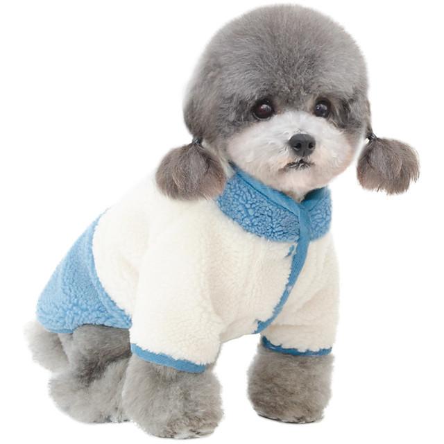 Psy Płaszcz Kombinezon Kolorowy blok Na co dzień / Sportowy Śłodkie Codzienne Zima Ubrania dla psów Ubrania dla szczeniąt Stroje dla psów Oddychający Żółty Niebieski Kostium dla dziewczynki i chłopca