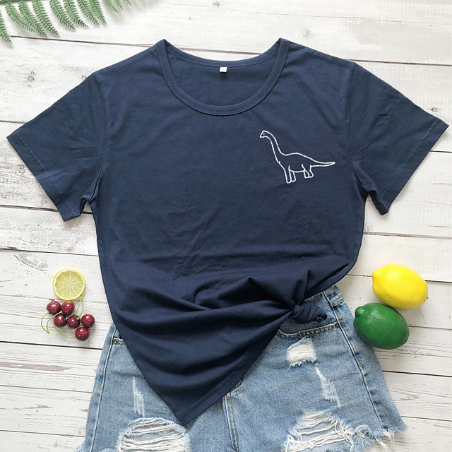Dames T-shirt dier Opdruk Ronde hals Tops 100% katoen Basic Basis Top Wit Zwart Geel