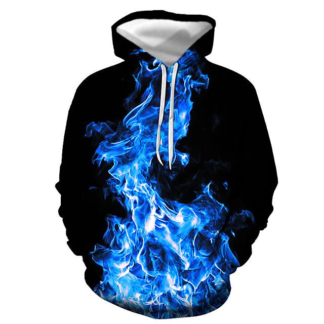 Voor heren Trui met capuchon Grafisch Vlam Dagelijks Uitgaan 3D-afdrukken Basic Informeel Hoodies Sweatshirts blauw