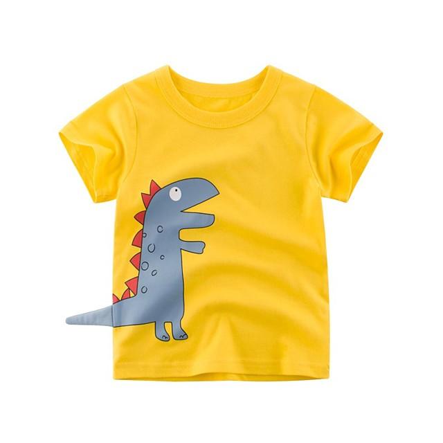 Kids Boys' T shirt Tee Short Sleeve Dinosaur Animal Print Blue Yellow Cotton Children Tops Summer Basic Cool