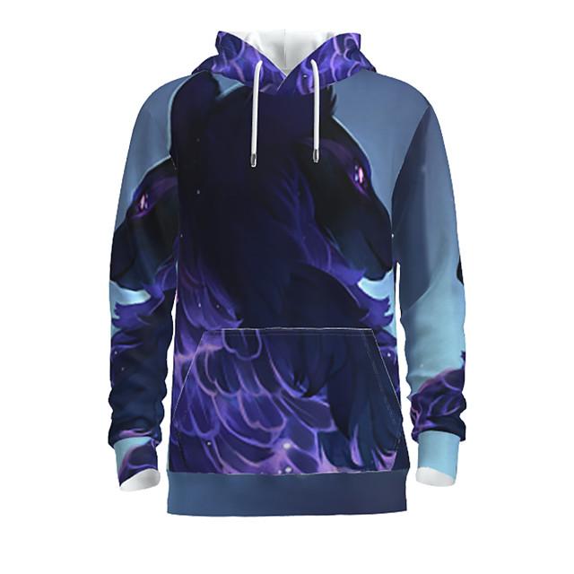 Voor heren Dagelijks Sweatshirt met capuchon Grafisch dier Capuchon Basic Hoodies Sweatshirts Lange mouw blauw