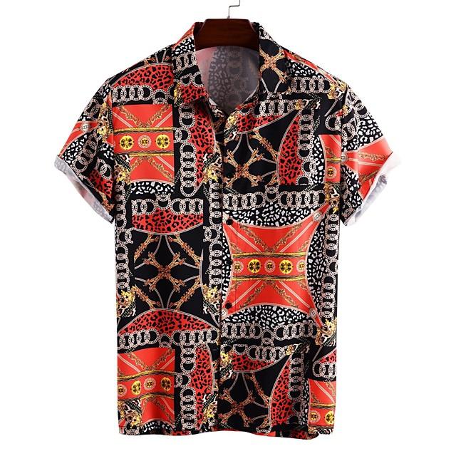 Voor heren Overhemd Andere prints Grafisch Korte mouw Dagelijks Tops Basic Regenboog