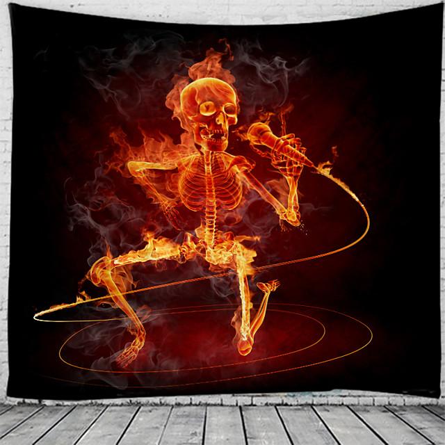 fête d'halloween vacances tapisserie murale art décor couverture rideau pique-nique nappe suspendue maison chambre salon dortoir décoration crâne psychédélique squelette hanté effrayant polyester