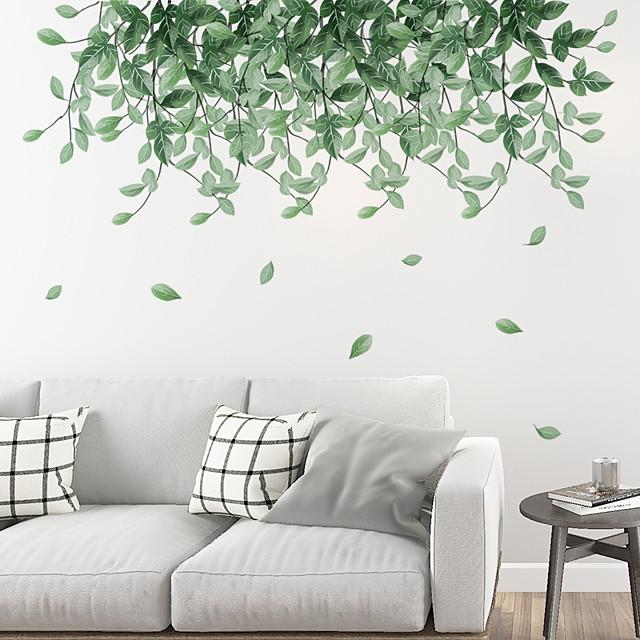 ملصقات جدارية على شكل أوراق خضراء متساقطة ملصقات جدارية لتزيين المنزل من الكلوريد متعدد الفينيل لتزيين المنزل ملصقات جدارية لتزيين الجدران 2 قطعة