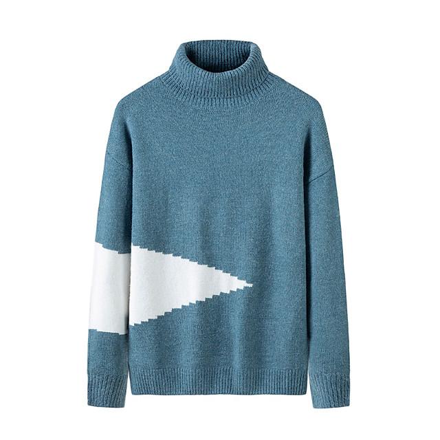 Voor heren Stijlvol Basic Oversized Gebreid Kleurenblok Pullover Acryl Vezels Lange mouw Trui Cardigans Coltrui Herfst Winter Zwart blauw Grijs