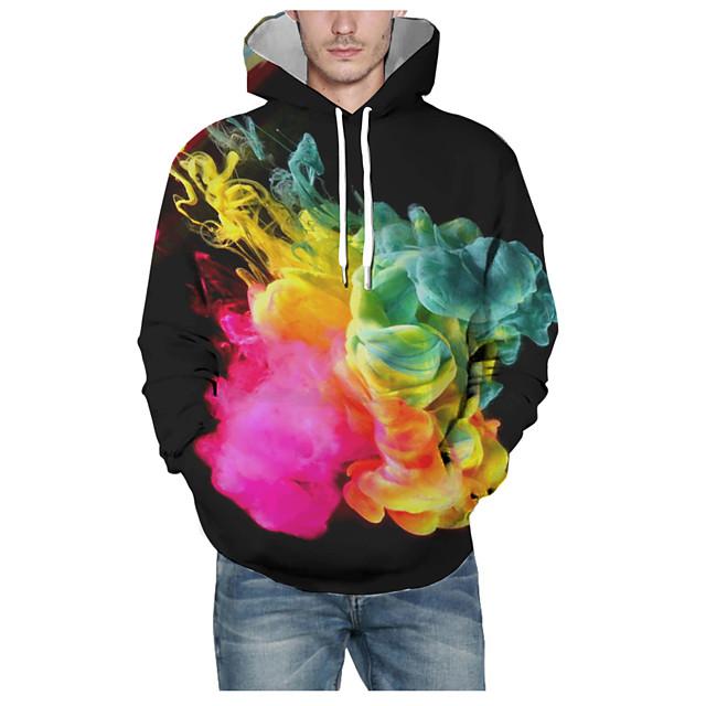 Voor heren Dagelijks Sweatshirt met capuchon 3D Grafisch Capuchon Basic Hoodies Sweatshirts Lange mouw Zwart
