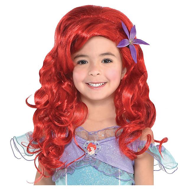 Kostuum pruiken Ariel Child Long Ariel Gekruld Golvend Pixie-kapsel Pruik Gemiddelde Lengte Rood Synthetisch haar Dames Anime Cosplay Aanbiddelijk Rood