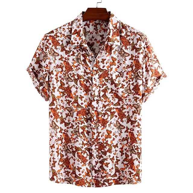 Voor heren Overhemd Andere prints Grafisch Korte mouw Dagelijks Tops Basic Wit Zwart Klaver