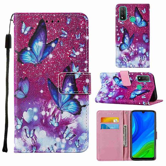 чехол для huawei p smart 2020 honor 9s y5p кошелек держатель для карт с подставкой чехлы для всего тела фиолетовая бабочка из искусственной кожи tpu для huawei y6p