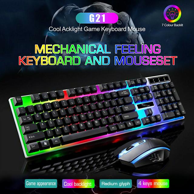 litbest g21 clavier souris filaire usb combinaison souris et clavier avec rétro-éclairage arc-en-ciel lumières LED souris de jeu souris de bureau souris ergonomique 1200 dpi