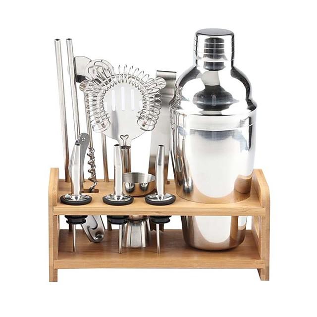 miscelatore per cocktail shaker isolato kit barista mixer shaker per cocktail in acciaio inox 550ml set di strumenti bar con elegante supporto in bambù kit bartending domestico perfetto e set shaker