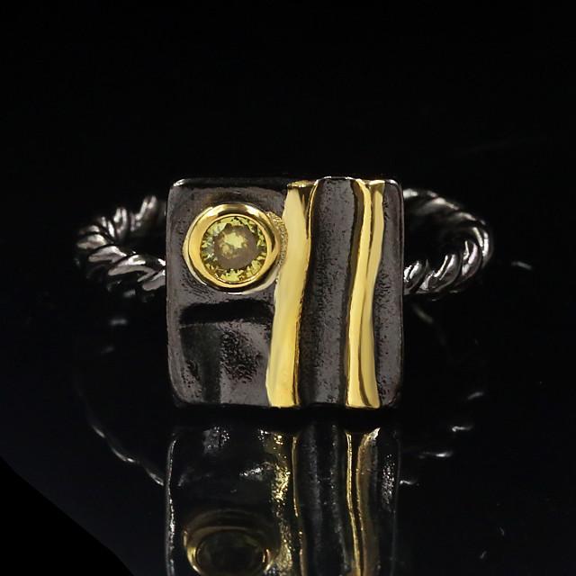 Ring Zirkonia twee stenen Zwart Messinki Dier Vintage modieus 1pc 6 7 8 9 10