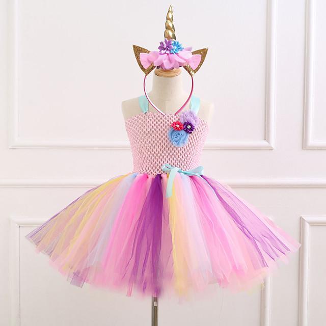 Unicorn Jurken Voor meisjes Film cosplay vakantie jurk Nieuwjaar Paars Blauw Roze Kleding Hoofddeksels Kerstmis Halloween Carnaval Polyester / katoen Polyesteri