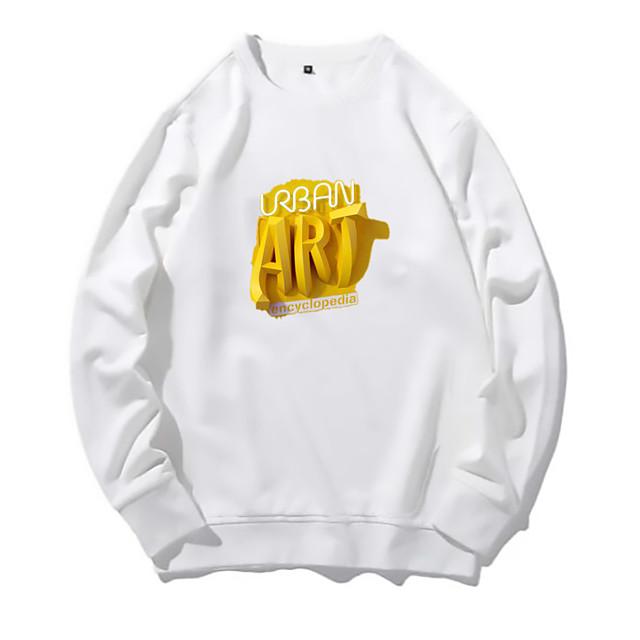 Voor heren Dagelijks Pullover Sweatshirt Print Ronde hals Basic Hoodies Sweatshirts Lange mouw Wit