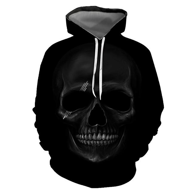 Voor heren Trui met capuchon Grafisch Doodskoppen Halloween Dagelijks Uitgaan 3D-afdrukken Basic Informeel Hoodies Sweatshirts Zwart