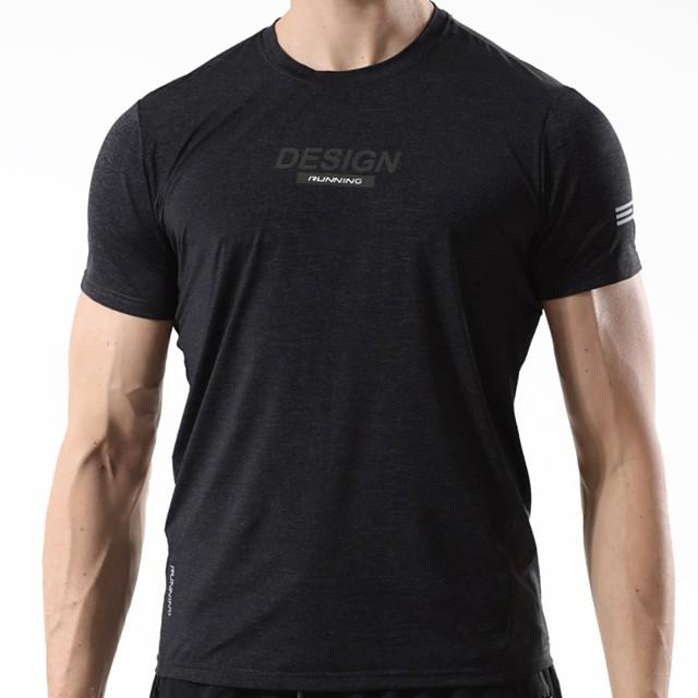 Homme T shirt Autres imprimés Couleur Pleine Manches Courtes Sports Hauts basique Noir Violet Bleu Roi